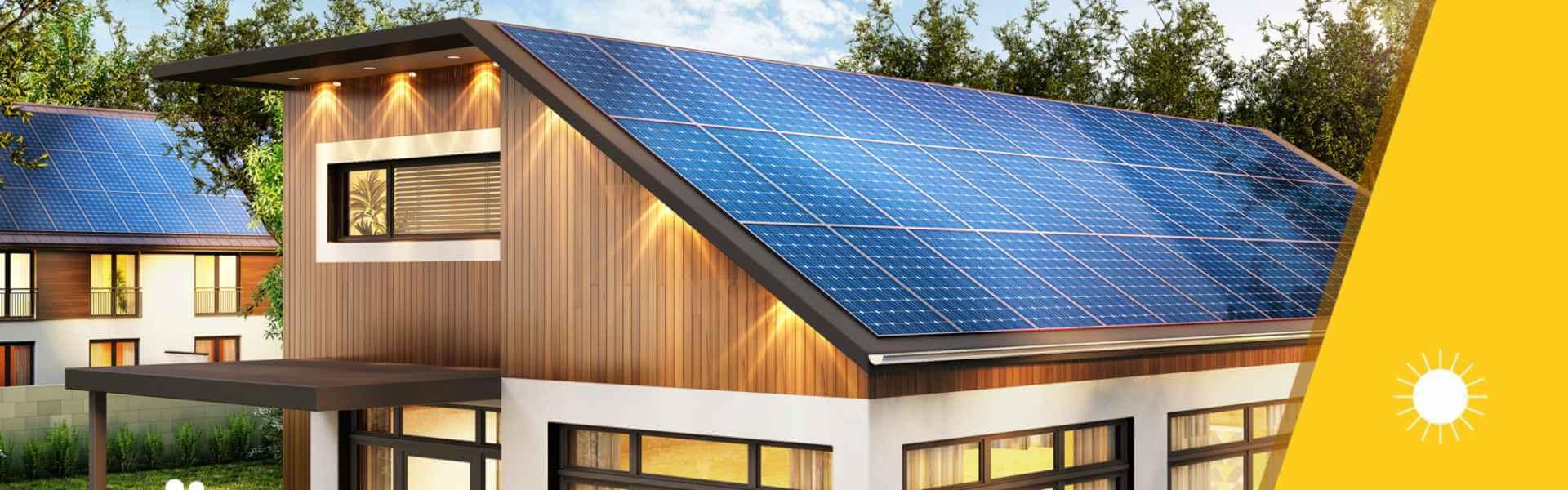 Hausdach mit Photovoltaikanlage